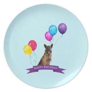Cumpleaños del perro de pastor alemán feliz platos para fiestas