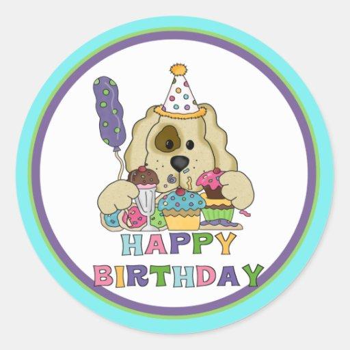 Cumpleaños del perro pegatina redonda