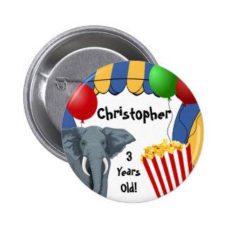 Cumpleaños del personalizado del carnaval del circ pin redondo de 2 pulgadas