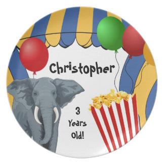Cumpleaños del personalizado del carnaval del circ plato de cena