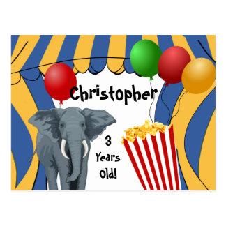 Cumpleaños del personalizado del carnaval del circ postal