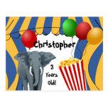 Cumpleaños del personalizado del carnaval del circ tarjetas postales