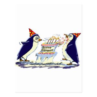 Cumpleaños del pingüino tarjetas postales