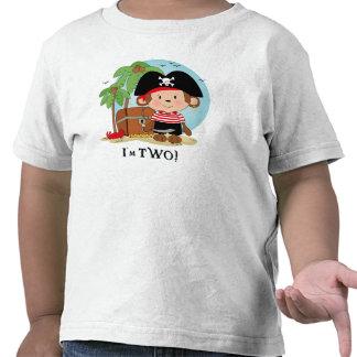 Cumpleaños del pirata del mono 2do camisetas