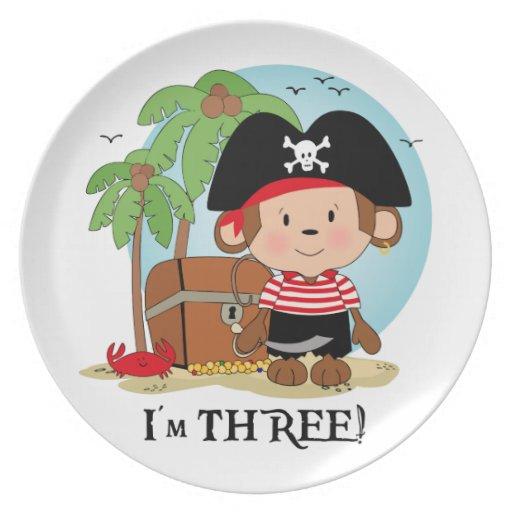 Cumpleaños del pirata del mono 3ro platos de comidas