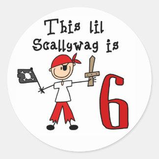 Cumpleaños del pirata del palillo 6to pegatina redonda