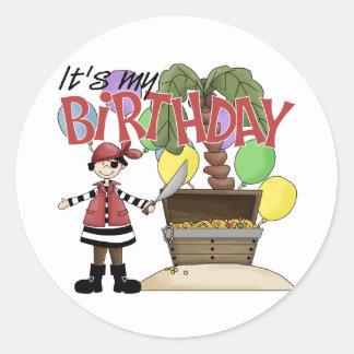 Cumpleaños del pirata pegatina redonda