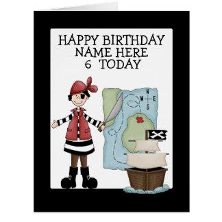 Cumpleaños del pirata tarjeta de felicitación grande