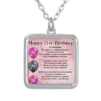 Cumpleaños del poema de la hija 21ro colgante cuadrado