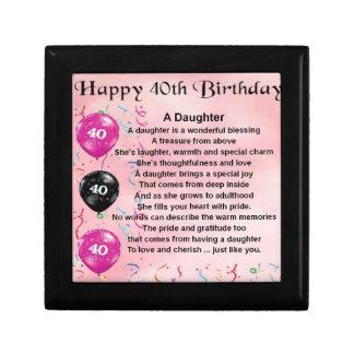 Cumpleaños del poema de la hija 40.o joyero cuadrado pequeño