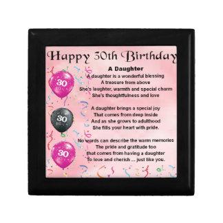 Cumpleaños del poema de la hija trigésimo joyero cuadrado pequeño