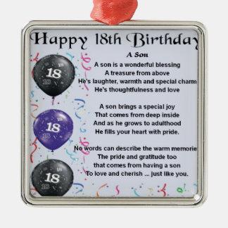 Cumpleaños del poema del hijo décimo octavo adorno cuadrado plateado