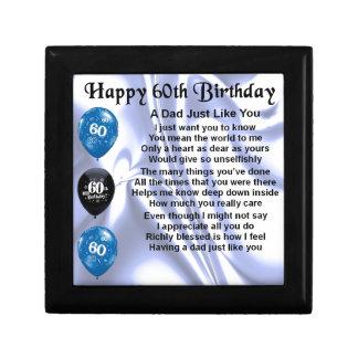 Cumpleaños del poema del papá 60.o joyero cuadrado pequeño