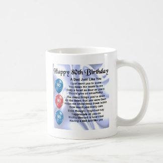 Cumpleaños del poema del papá 80.o taza de café