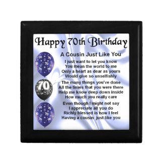 Cumpleaños del poema del primo 70.o joyero cuadrado pequeño