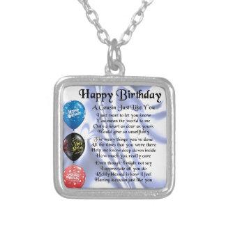Cumpleaños del poema del primo feliz colgante cuadrado