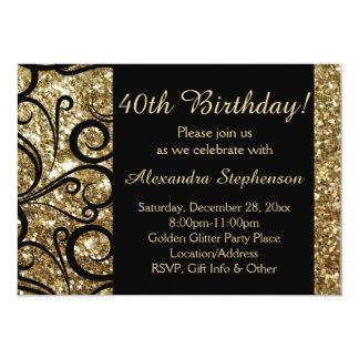 Cumpleaños del remolino brillante del oro 40.o invitación 12,7 x 17,8 cm