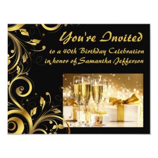 """Cumpleaños del remolino del oro 40.o invitación 4.25"""" x 5.5"""""""