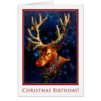Cumpleaños del reno en tarjeta de Navidad