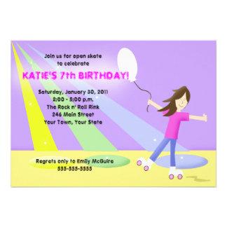 Cumpleaños del Rollerskating 5x7 del PATÍN DE RUED Invitación