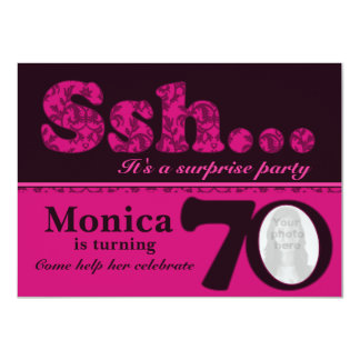 """Cumpleaños del rosa de la sorpresa del ssh de la invitación 4.5"""" x 6.25"""""""