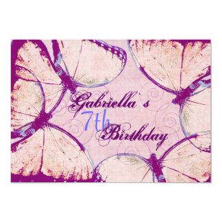 """cumpleaños del ` s del chica de las mariposas que invitación 5"""" x 7"""""""
