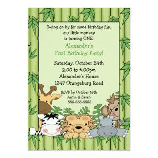 """Cumpleaños del safari de la diversión 1r invitación 5"""" x 7"""""""