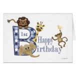 Cumpleaños del safari en plantilla azul felicitacion