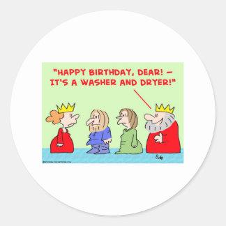 cumpleaños del secador de la lavadora de la reina pegatina