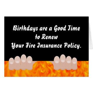 Cumpleaños del seguro contra incendios tarjeta de felicitación
