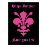 Cumpleaños del símbolo de la flor de lis de las tarjeta de felicitación