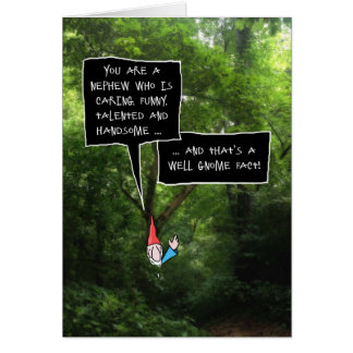 Cumpleaños del sobrino, gnomo chistoso en bosque tarjeta de felicitación