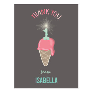 Cumpleaños del Sparkler del helado el 1r le Tarjeta Postal
