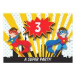 Cumpleaños del super héroe de los gemelos invitación