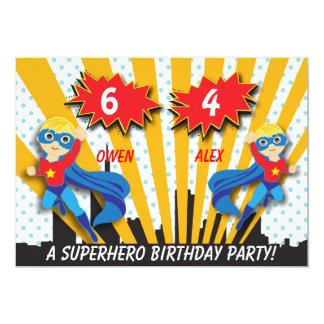 """Cumpleaños del super héroe de los muchachos invitación 5"""" x 7"""""""
