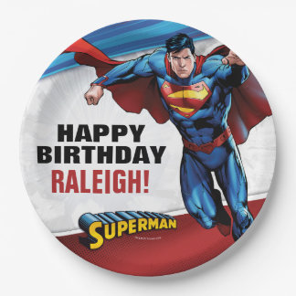 Cumpleaños del superhombre platos de papel