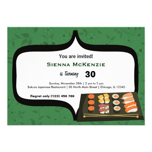 Cumpleaños del sushi invitaciones personales