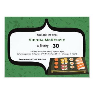 """Cumpleaños del sushi invitación 5"""" x 7"""""""