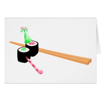 Cumpleaños del sushi tarjeta de felicitación