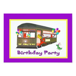 Cumpleaños del tranvía de New Orleans (púrpura) Invitación 12,7 X 17,8 Cm