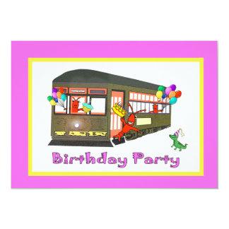 Cumpleaños del tranvía de New Orleans (rosa) Invitación 12,7 X 17,8 Cm