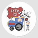 Cumpleaños del tren de los niños etiqueta redonda