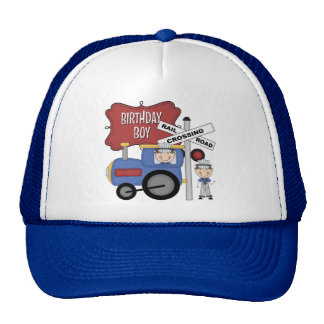 Cumpleaños del tren de los niños gorras de camionero