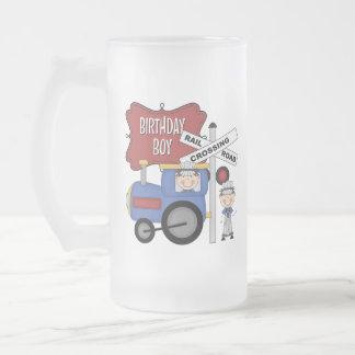 Cumpleaños del tren de los niños taza cristal mate