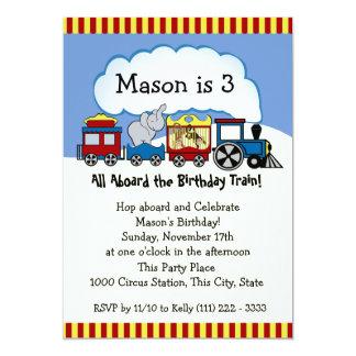 """Cumpleaños del tren del circo invitación 5"""" x 7"""""""