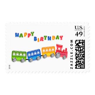 Cumpleaños del tren del juguete sellos