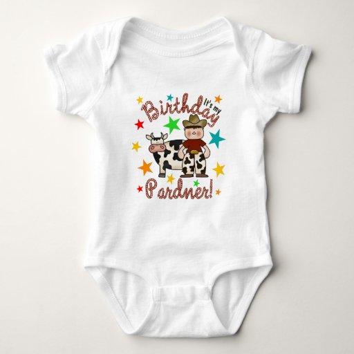 Cumpleaños del vaquero de los niños body para bebé