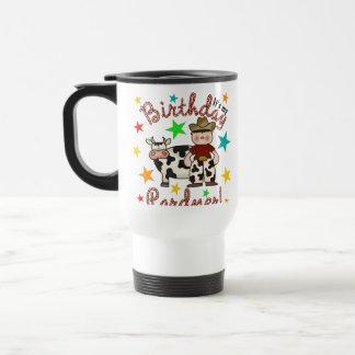 Cumpleaños del vaquero de los niños taza de viaje de acero inoxidable
