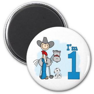 Cumpleaños del vaquero del palillo 1r imán redondo 5 cm