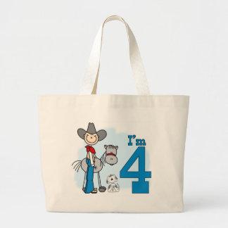 Cumpleaños del vaquero del palillo 4to bolsa tela grande